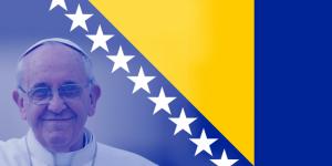 Papa y Bandera de Bosnia
